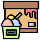 and, dessert, food, ice, restaurant, summer, summertime icon