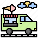 and, cream, food, ice, restaurant, transportation, truck icon