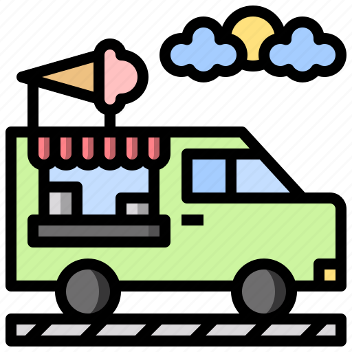 and, cream, food, ice, restaurant, transportation, truck icon