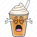 cartoon, coffee, cup, emoji, iced, plastic icon