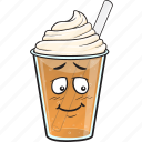cartoon, coffee, cup, emoji, iced, plastic