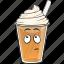 cartoon, coffee, cup, emoji, iced, plastic icon