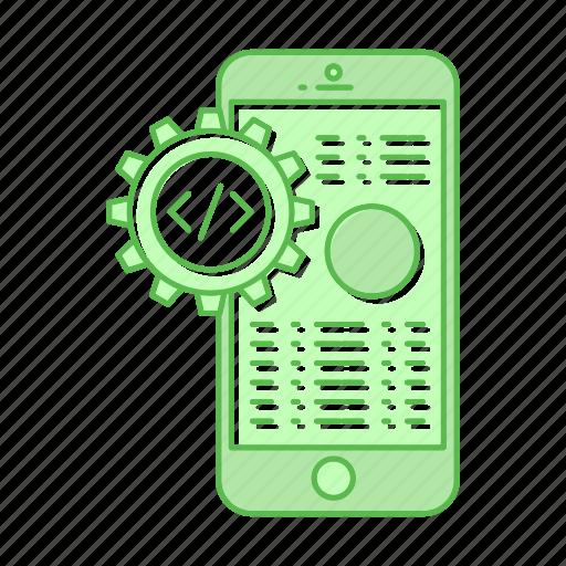 development, gear, mobile, smartphone icon