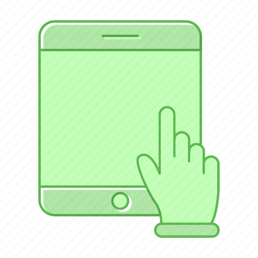 development, hand, slide, tablet icon