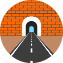 asphalt, brick, highway, road, tunnel, wall, way icon
