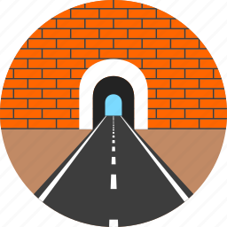 asphalt, brick, highway, road, tunnel, wall, way icon
