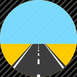 asphalt, highway, horizon, meadow, road, sky, way icon