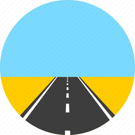 asphalt, highway, horizon, meadow, road, sky, way icon