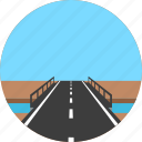 asphalt, bridge, highway, horizon, river, road, way icon