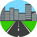 asphalt, city, highway, house, road, way icon