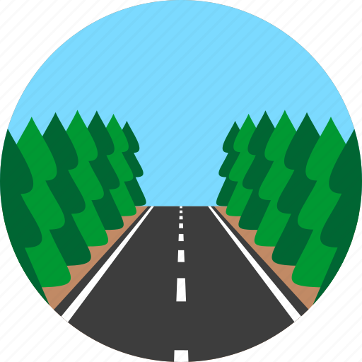 asphalt, firtree, highway, horizon, road, way, wood icon