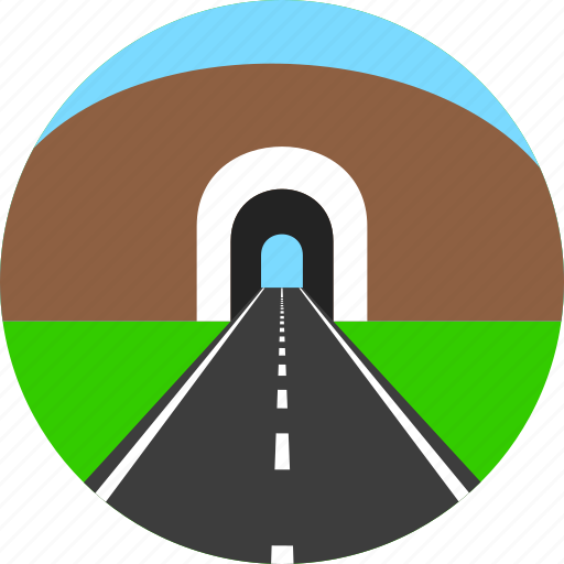 asphalt, highway, horizon, mountain, road, tunnel, way icon