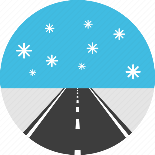 asphalt, highway, horizon, road, snow, way, winter icon