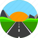 asphalt, highway, horizon, mountain, road, sun, way icon