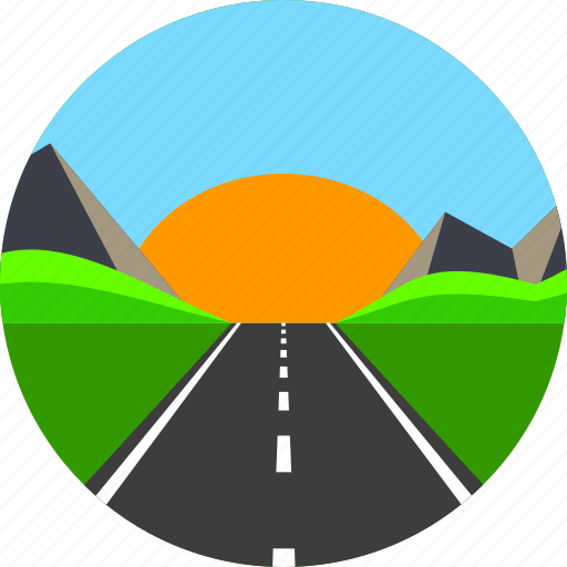 Asphalt, highway, horizon, mountain, road, sun, way icon