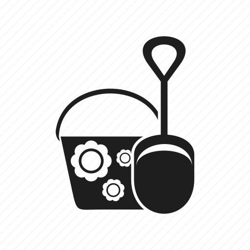 bucket, shovel, silhouette, toy icon