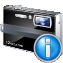 camera, info icon
