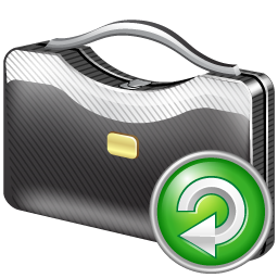 briefcase, reload icon