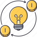 bulb, coin, creative, idea, investment, light, money icon
