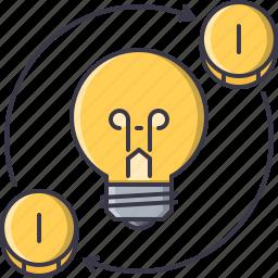 bulb, coin, creative, idea, investment, light, money icon