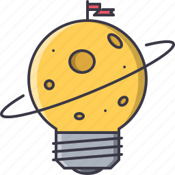 bulb, discovery, flag, idea, planet, space icon