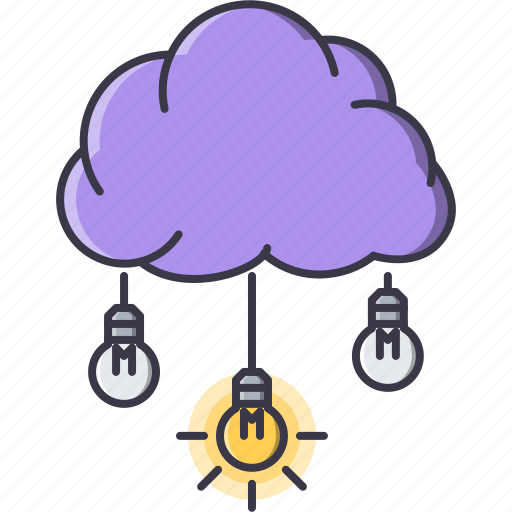 air, brainstorm, bulb, cloud, idea, light, storm icon