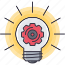 bulb, cogwheel, idea, light, mechanism, optimization, setting icon