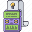 bulb, computer, creative, generator, idea, machine, paper icon
