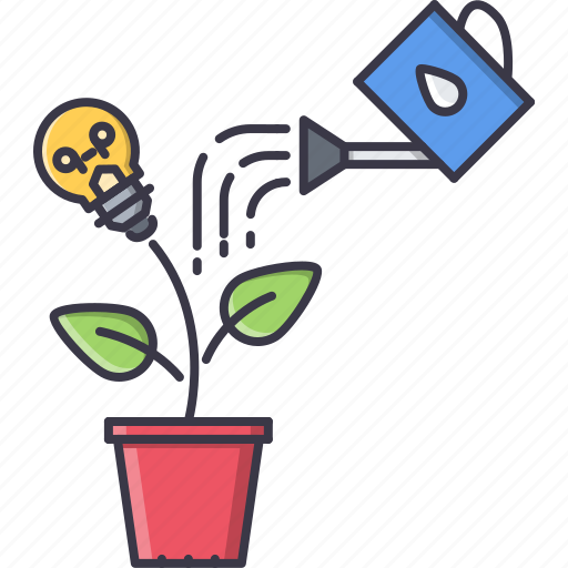 bulb, idea, leaf, sprout, startup, water, watering icon