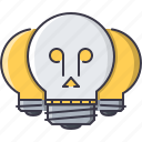 bulb, creative, death, idea, light, skull icon