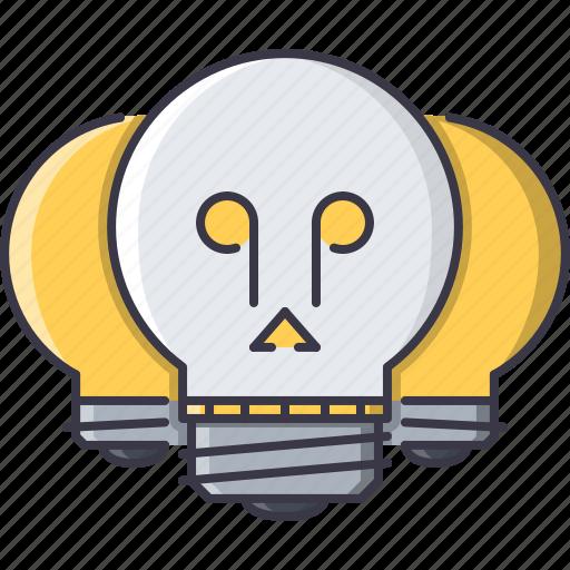 bulb, creative, death, idea, light, skull icon