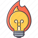 bonfire, bulb, creative, fire, hot, idea, light icon