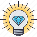 bulb, creative, diamond, good, great, idea, smart icon