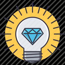 bulb, creative, diamond, good, great, idea, smart icon