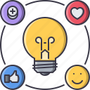 bulb, idea, like, network, smm, social, success icon