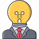 bulb, creative, director, idea, job, man, suit icon