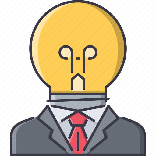 bulb, creative, director, idea, job, man, suit icon