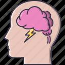 brain, cloud, creative, head, idea, lightning, storm