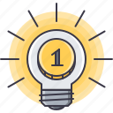bulb, coin, idea, investment, light, money icon