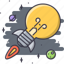 bulb, business, idea, planet, rocket, space, startup icon