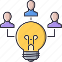 brainstorm, bulb, creative, idea, people, team icon