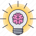 brain, bulb, creative, idea, light, science, smart icon