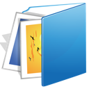 blue, folder, images icon