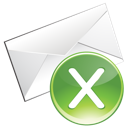 email, green, remove icon