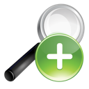 green, plus, search icon