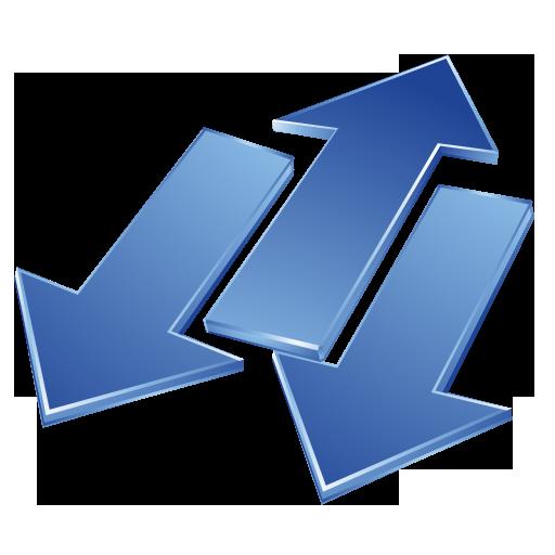 arrows, blue icon