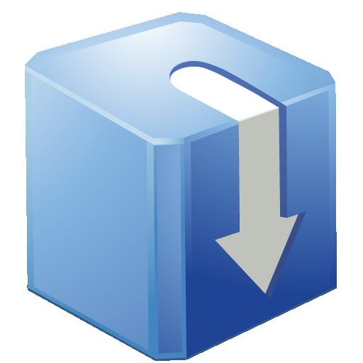 blue, box, download icon