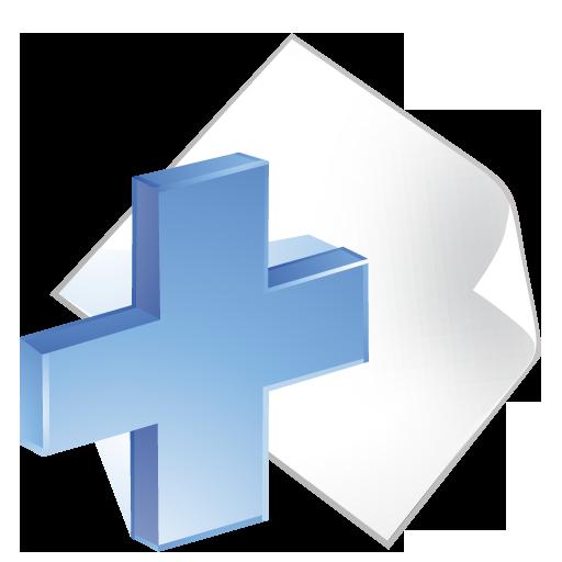 add, blue, paper icon