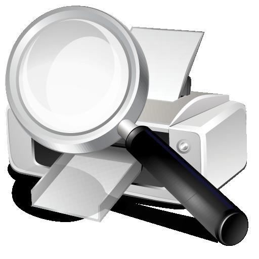 printer, search icon