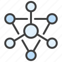 communication, microservice, connection, interaction, molecule icon